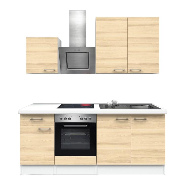 Küchenzeile Louis – Einbaugeräte – Spüle – 210 cm – Akazien Dekor – Weiß / Weiß, Modus Küchen günstig