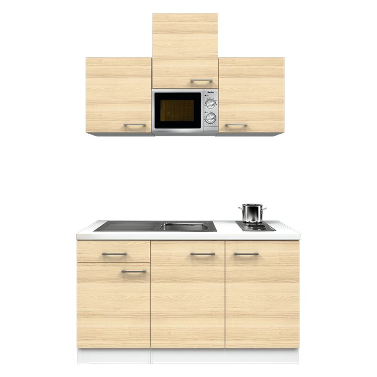 Küchenzeile Anton – Einbaugeräte – Spüle – 150 cm – Akazien Dekor – Weiß / Weiß, Modus Küchen jetzt kaufen
