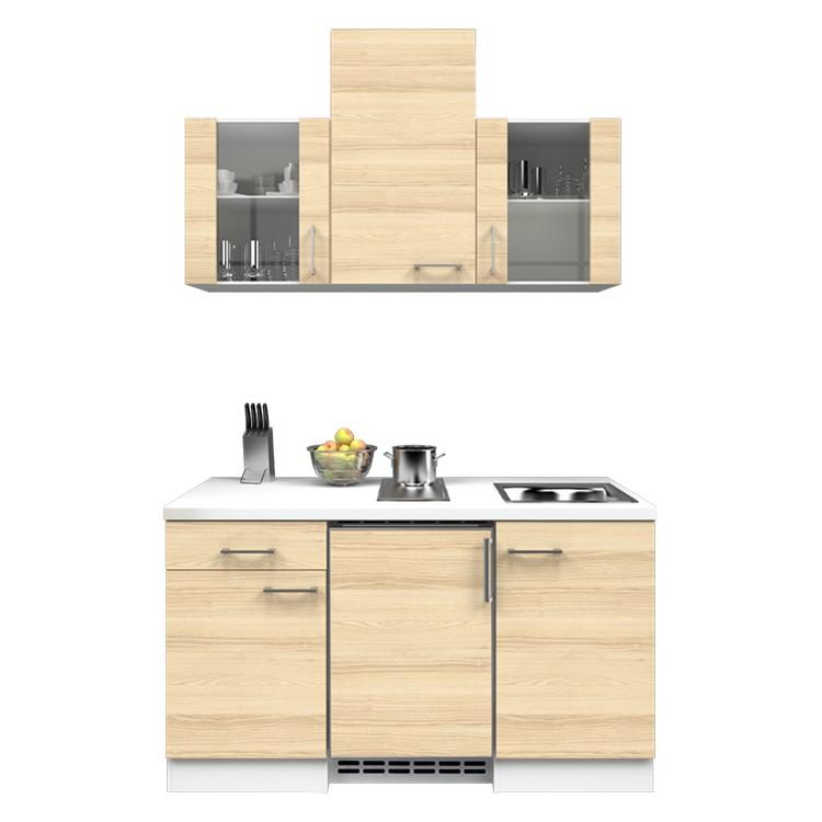 Küchenzeile Nico – Einbaugeräte – Spüle – 150 cm – Akazien Dekor – Weiß / Weiß, Modus Küchen jetzt bestellen