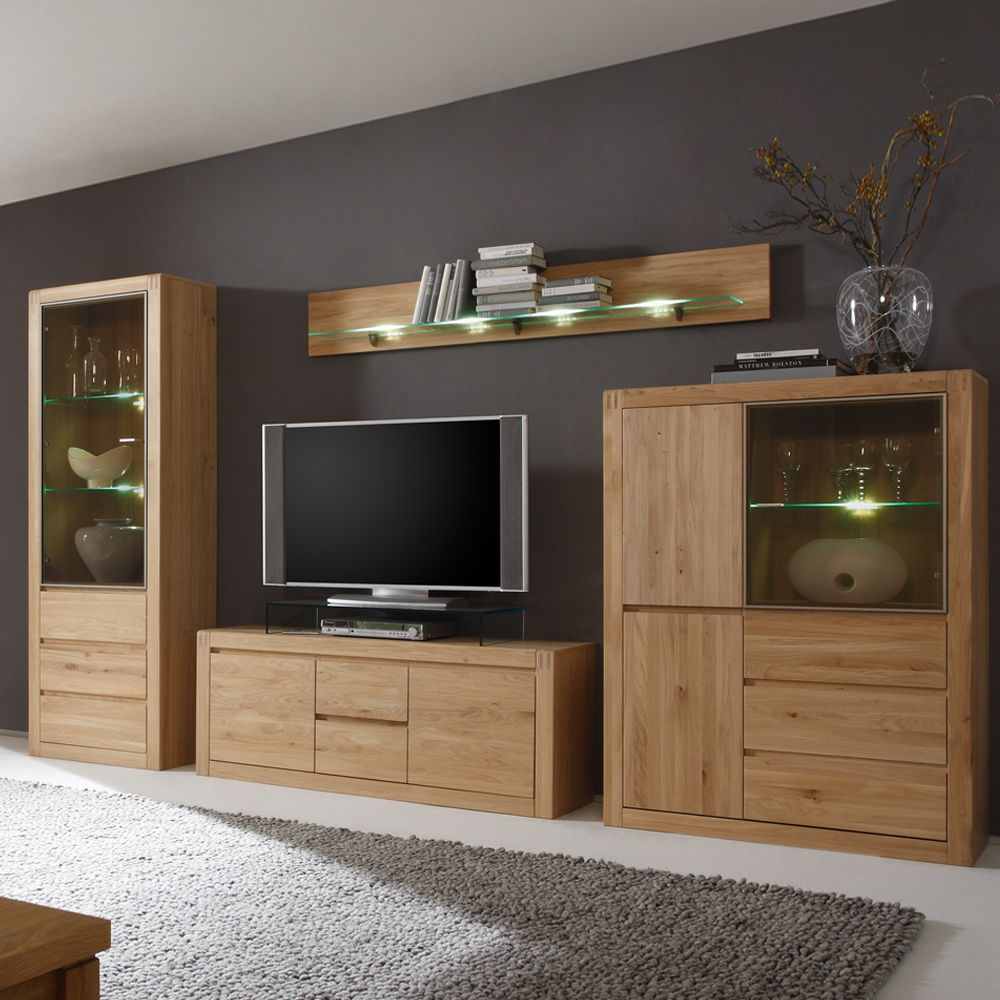 anbauwand oldnam 5 teilig eiche massiv grifflos. Black Bedroom Furniture Sets. Home Design Ideas