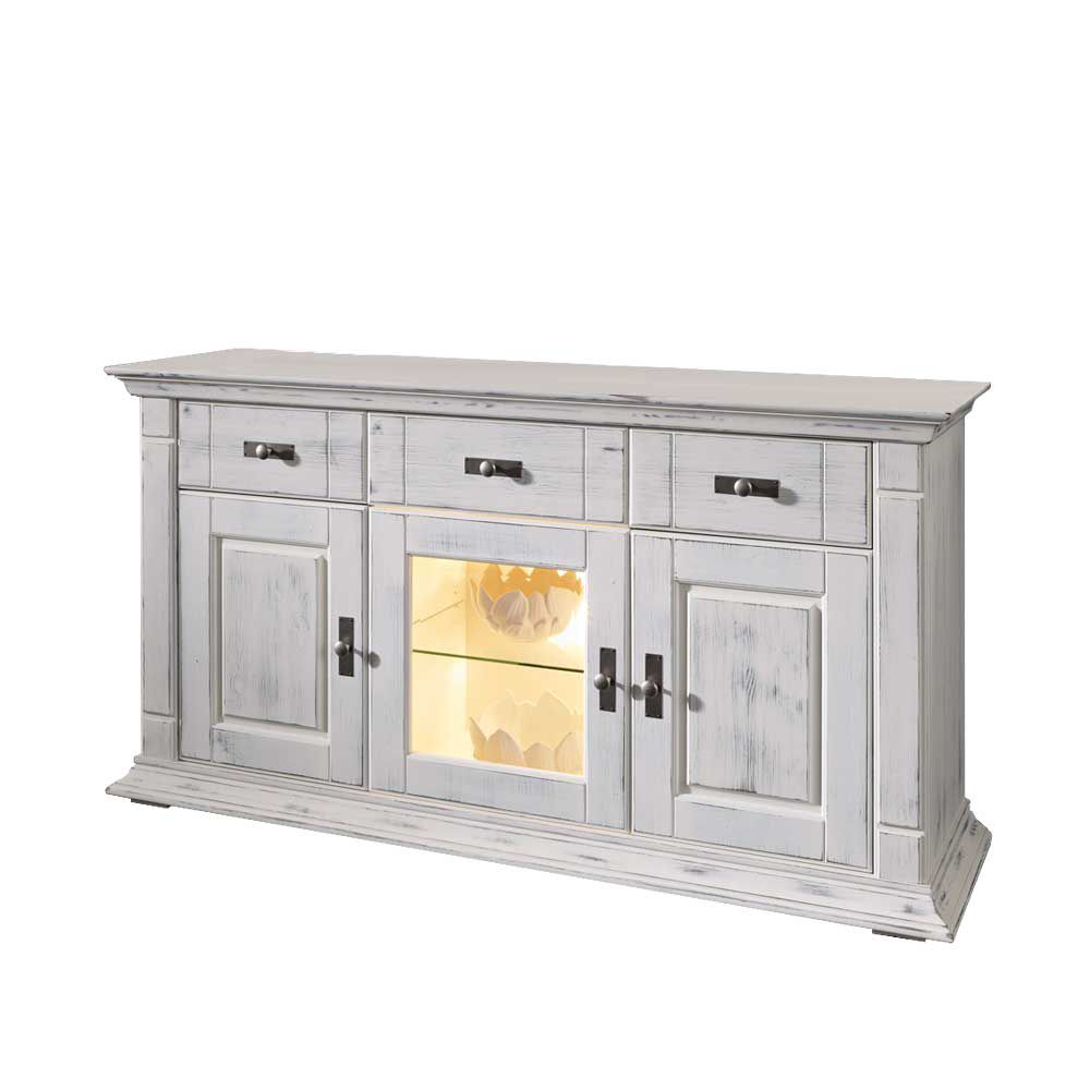 Anrichte Fliarina – Antik Weiß – Kiefer Massiv – Mit Beleuchtung, Basilicana bestellen