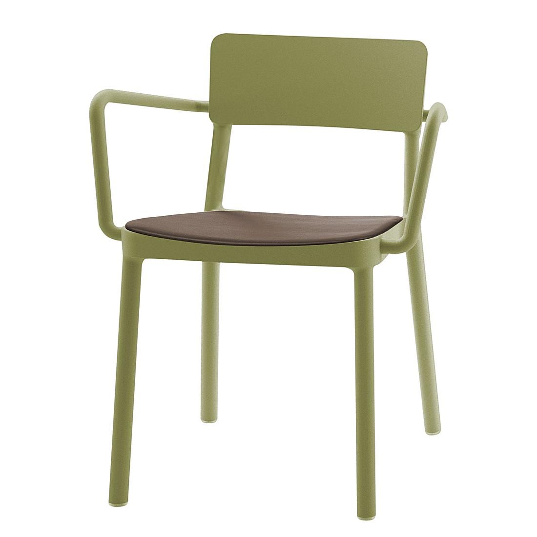 Armlehnenstuhl Lisboa (4er-Set) – Kunststoff Olivgrün/ Kunstleder Braun, Blanke Design günstig online kaufen