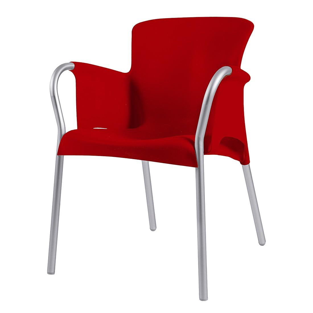 Armlehnenstuhl Oh (2er Set) – Kunststoff/Aluminium – Rot, Blanke Design günstig