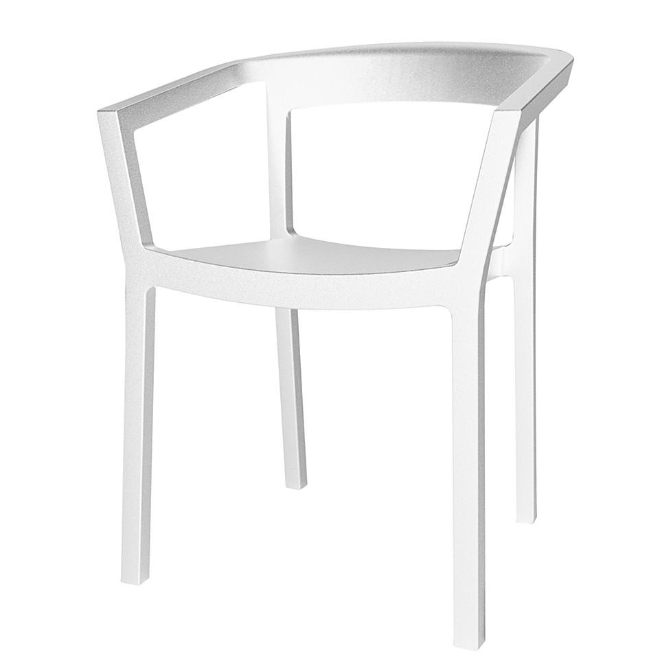 Armlehnenstuhl Peach (2er-Set) – Kunststoff – Weiß, Blanke Design jetzt kaufen