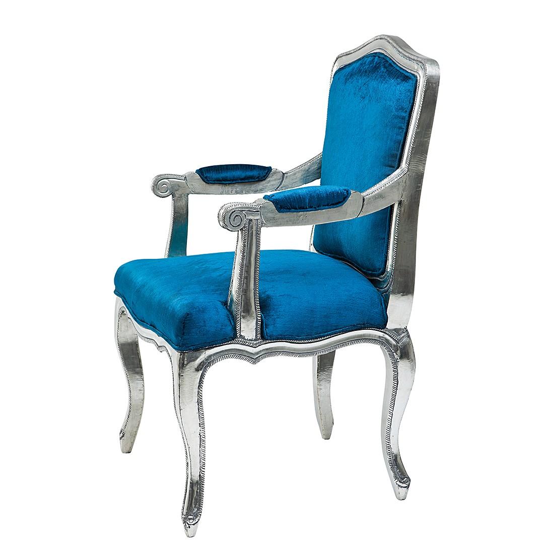 Armlehnenstuhl Regency – Samt/Mango massiv – Blau, Kare Design jetzt bestellen