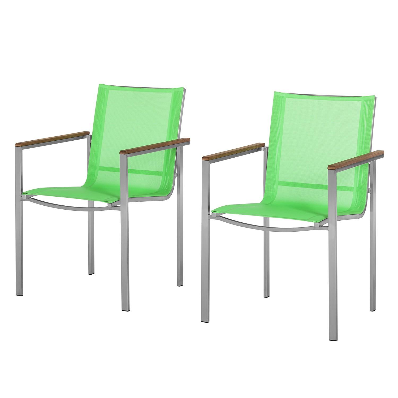 Armlehnenstuhl T-Line (2er-Set) - Metall/Textilene Lindgrün, Kings Garden