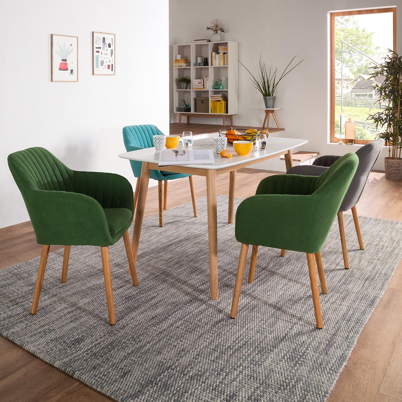 Armlehnenstuhl tilanda i gr n eiche stuhl sessel for Marken esstische