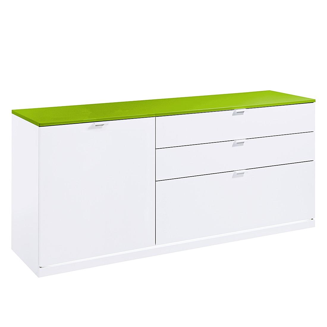 sideboard vip iii wei gr n mit led beleuchtung. Black Bedroom Furniture Sets. Home Design Ideas