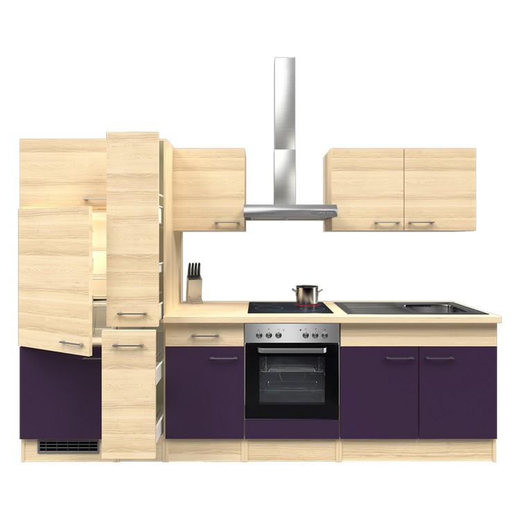 Küchenzeile Finn – Einbaugeräte – Spüle – 300 cm – Aubergine – Akazien Dekor, Modus Küchen günstig online kaufen