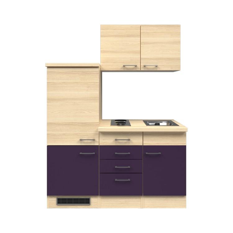 Küchenzeile Timm – Einbaugeräte – Spüle – 160 cm – Aubergine – Akazien Dekor, Modus Küchen kaufen