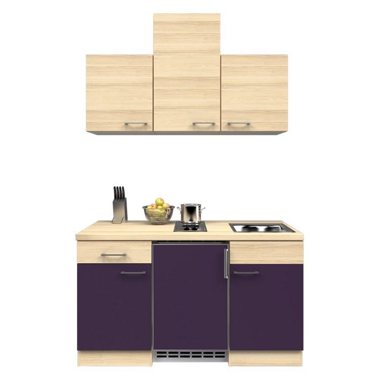 Küchenzeile Barinas – Einbaugeräte – Spüle – 150 cm – Aubergine – Akazien Dekor, Modus Küchen online kaufen