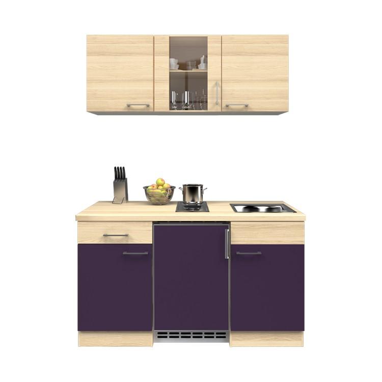 Küchenzeile Leon – Einbaugeräte – Spüle – 150 cm – Aubergine – Akazien Dekor, Modus Küchen günstig kaufen