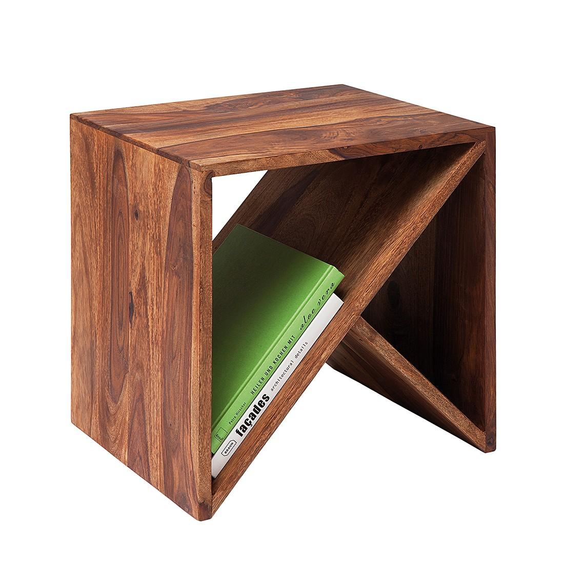 authentico cube zigzag sheesham massiv beistelltisch. Black Bedroom Furniture Sets. Home Design Ideas