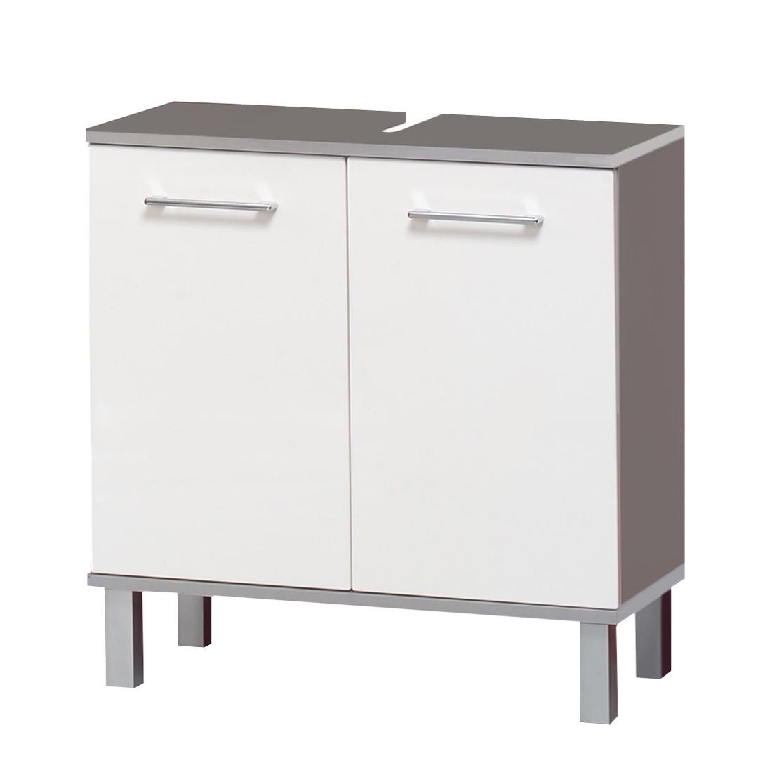 Waschbeckenunterschrank Avellino – Weiß Hochglanz/Alu, Giessbach kaufen