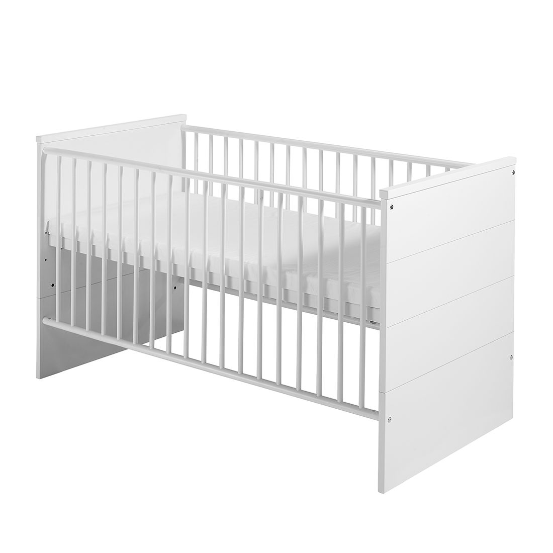 Babybett Eco Stripe - Buche Massiv/MDF - Weiß, Schardt