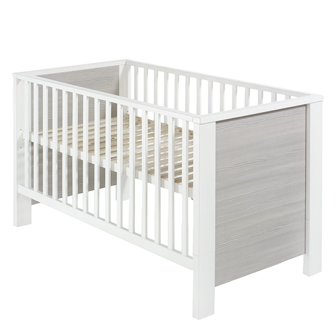 Babybett Milano - Pinie Silber Dekor / Weiß, Schardt