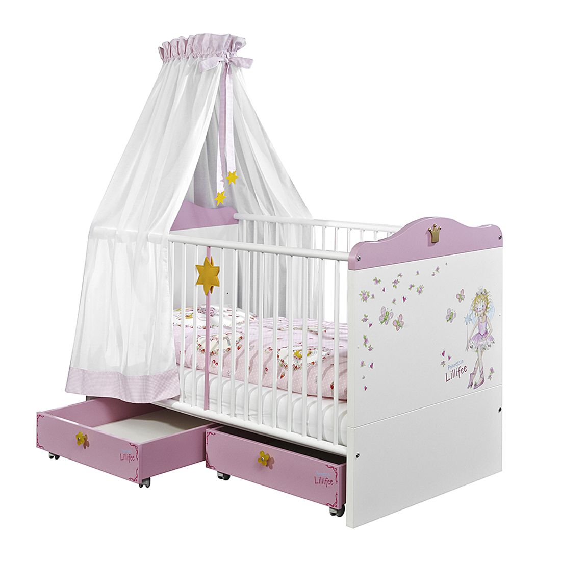 Babybett prinzessin lillifee   weiß/rosa   lattenrost/bett, arte m ...