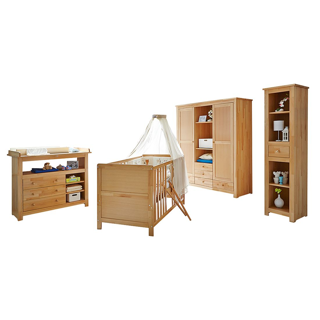 Babyzimmer Provence II (4-teilig) - Buche massiv, Ticaa