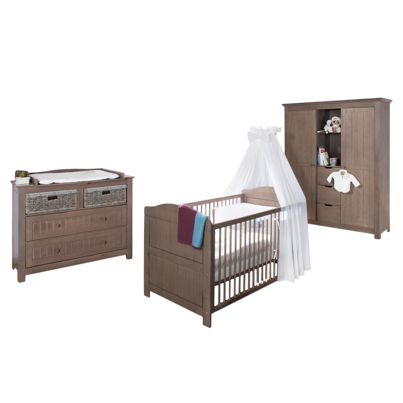 Babyzimmer-Set Jelka (3-teilig) - Babybett, Wickelkommode & Kleiderschrank 3-türig, Pinolino