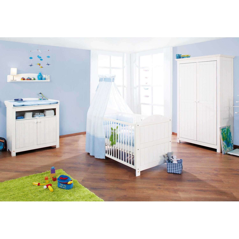 Babyzimmer-Set Nina ( 3-teilig) - Babybett, Wickelkommode mit Türen & Kleiderschrank 2-türig, Pinolino