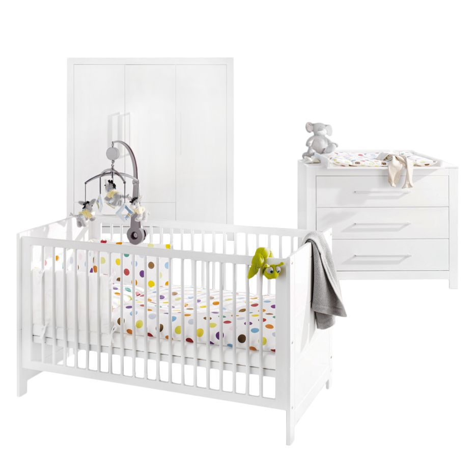 Babyzimmerkombination Puro II (3-teilig) - Fichte - Weiß - Lasiert, Pinolino