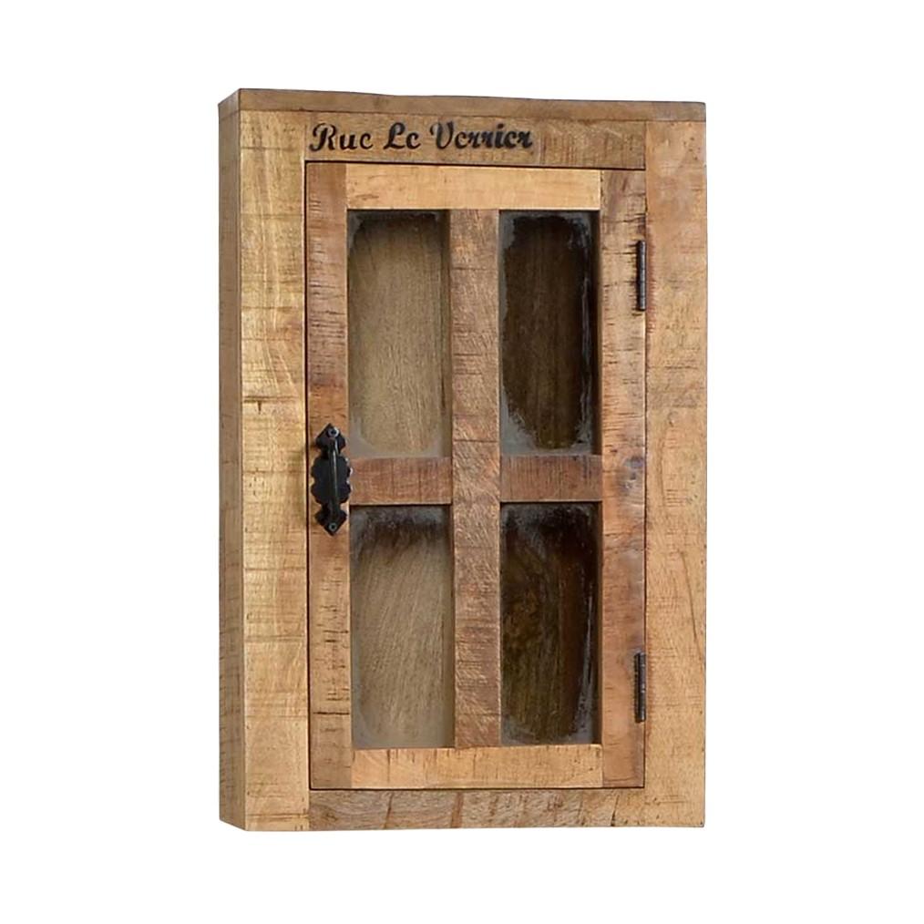 Bad Hängeschrank Brave – Mangobaum Massiv/Glas – Antik-Finish/Klar, Möbel Exclusive jetzt kaufen