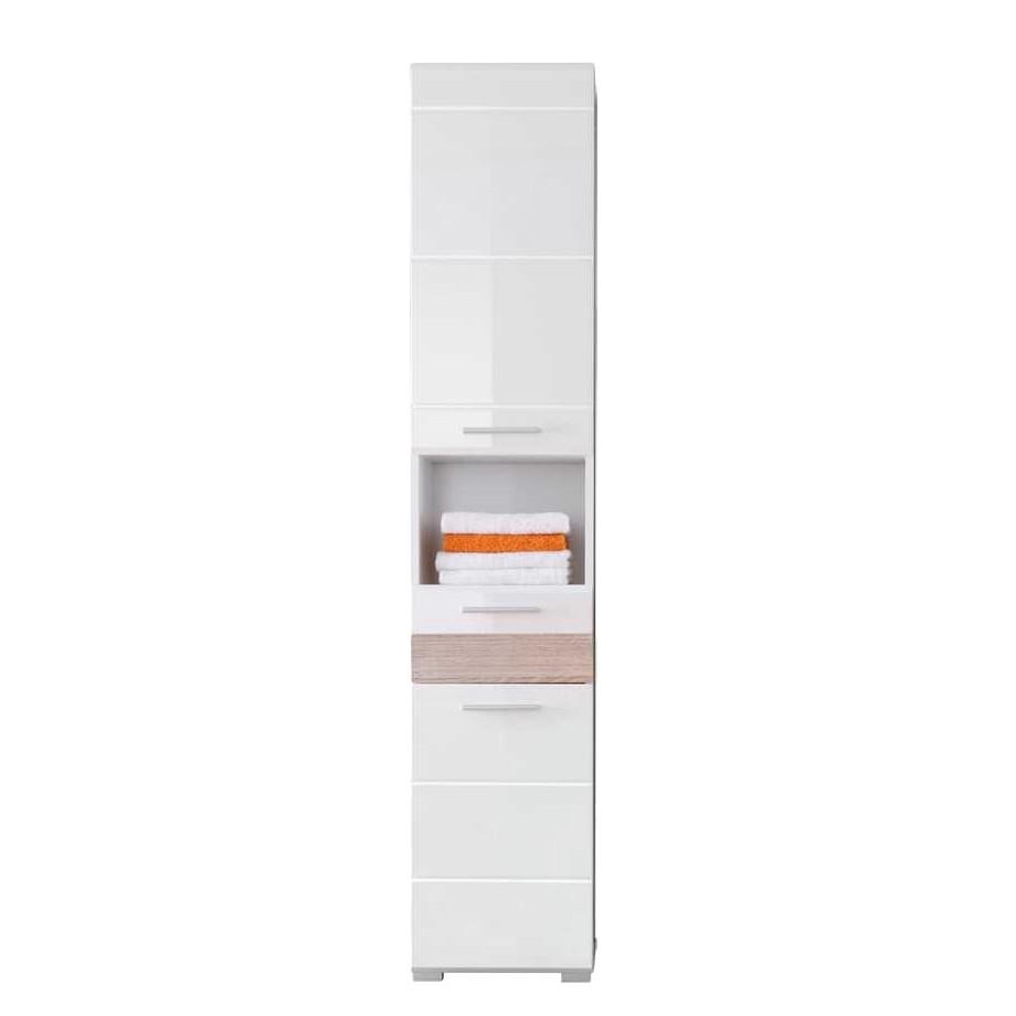 Bad Seitenschrank Runicava – Hochglanz Weiß/Eiche Sägerau Dekor, Violata Furniture günstig bestellen