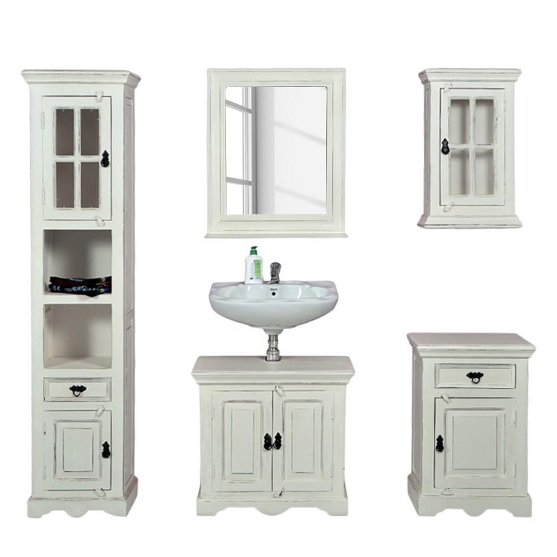 Badezimmer Komplettset Zoe (5-teilig) – Mangobaum Massivholz/MDF – Weiß, Jack & Alice günstig