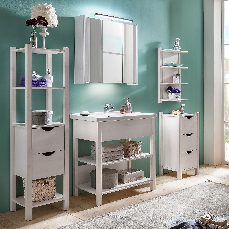Badezimmer-Set Paulina I (5-teilig) - Kiefer massiv - Weiß, Schildmeyer