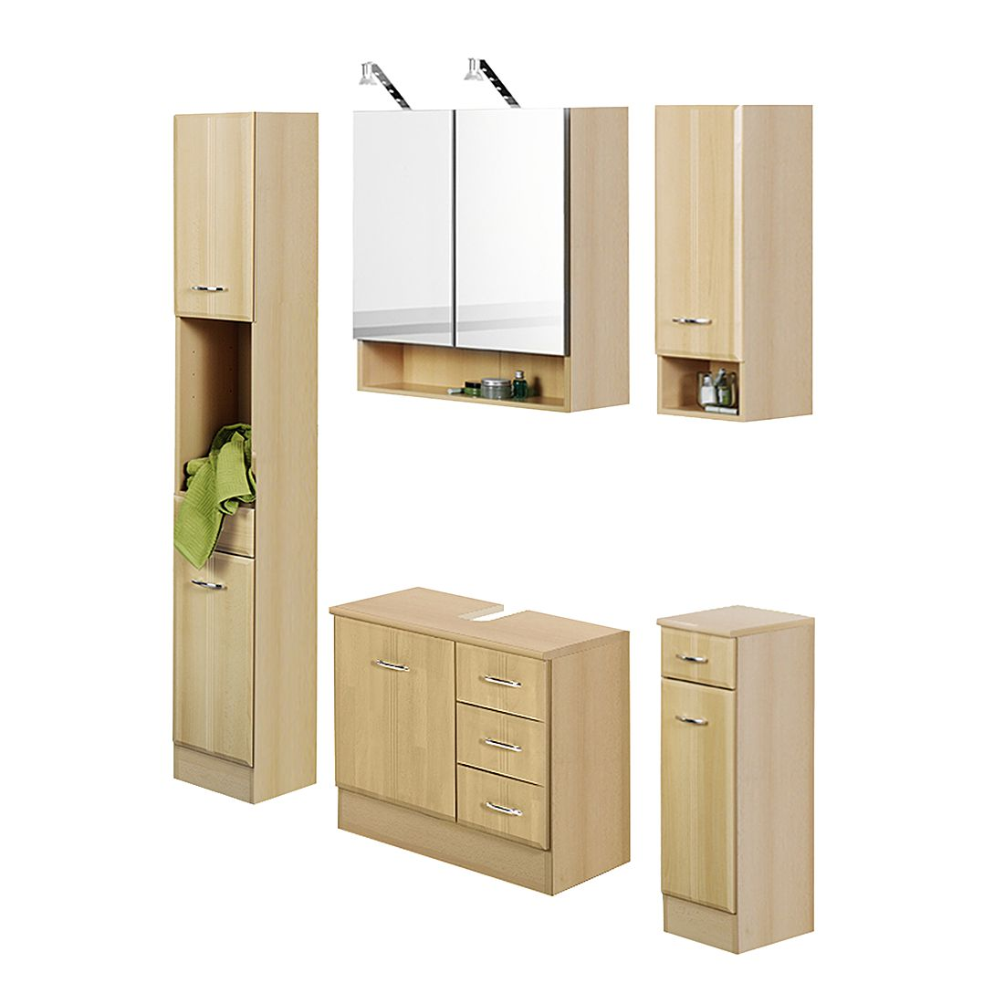 badezimmerset lund buche 4er set giessbach g nstig online kaufen. Black Bedroom Furniture Sets. Home Design Ideas