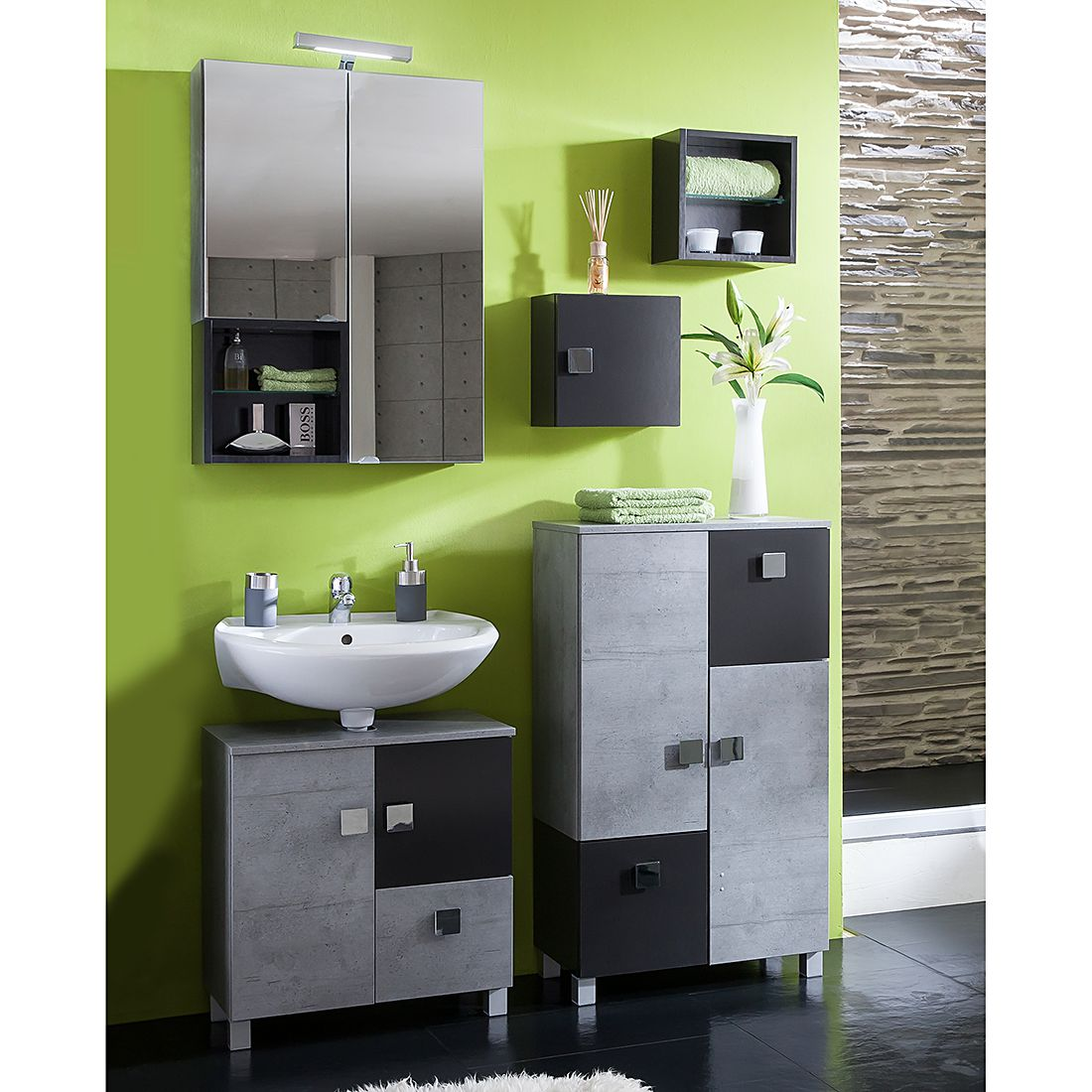 badezimmerset toronto ii 5 teilig anthrazit steingrau. Black Bedroom Furniture Sets. Home Design Ideas