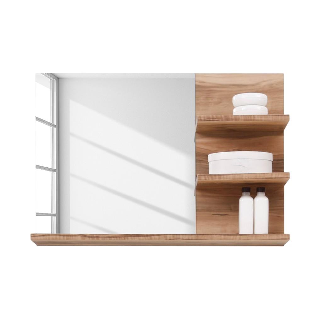 Badezimmerspiegel Frisata – Nussbaum Dekor – Mit Ablagen, Violata Furniture bestellen