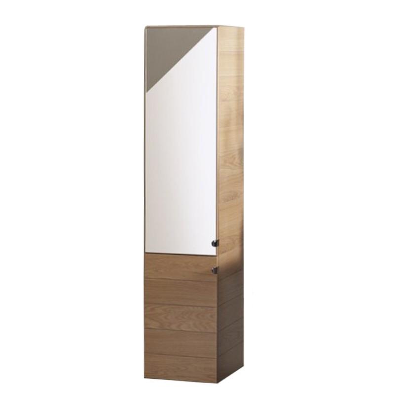 Badhochschrank Agate - Eiche furniert - Spiegel