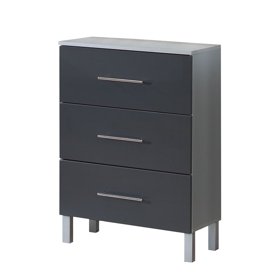 badschrank poco mdf spanplatte anthrazit hochglanz silber modell 1. Black Bedroom Furniture Sets. Home Design Ideas