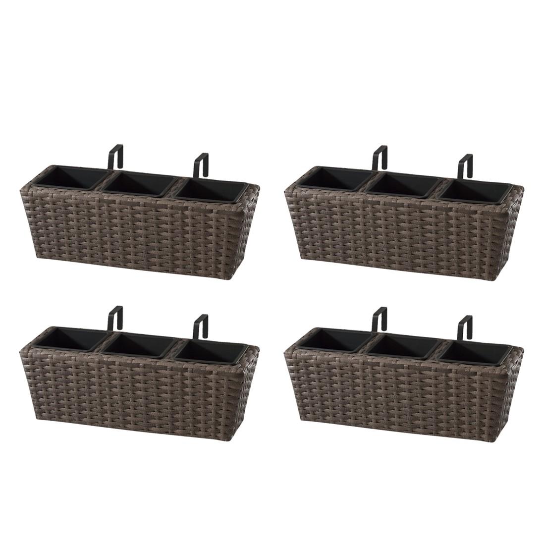 Balkonkasten (4er-Set) – 47 x 17 x 17 cm – Polyrattan – Cappuccino, Gartenfreude günstig kaufen