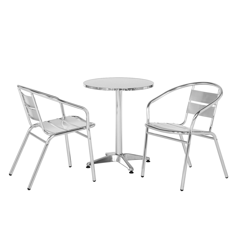 Balkonmöbelset Julius (3-teilig) - Aluminium/Edelstahl - Silber, Garden Guerilla