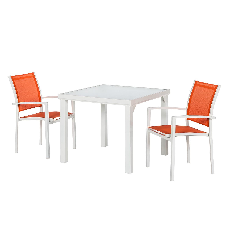 Balkonmöbelset Sonny (3-teilig) II - Aluminium/Textilene - Weiß/Orange, Garden Guerilla