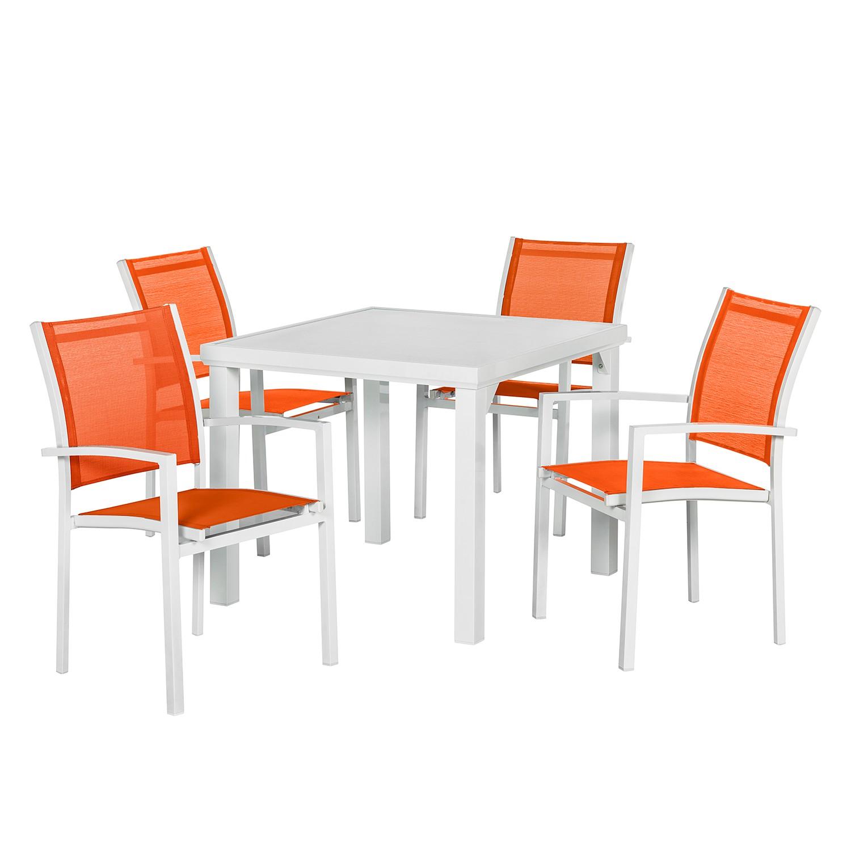 Balkonmöbelset Sonny (5-teilig) II - Aluminium/Textilene - Weiß/Orange, Garden Guerilla
