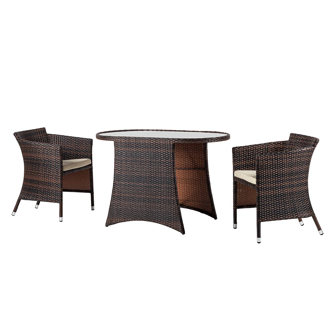 Balkonset 3for2 (3-teilig) - Polyrattan Braun, Kings Garden