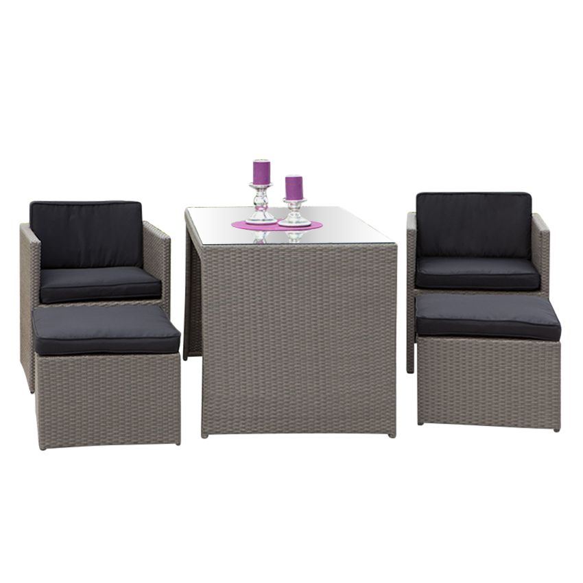 balkonset merano 5 teilig polyrattan grau polyester schwarz merxx g nstig. Black Bedroom Furniture Sets. Home Design Ideas