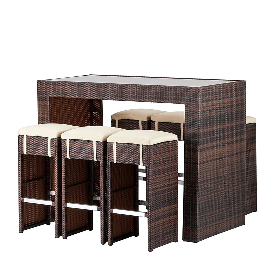 Gartenbar-Set Paradise Lounge (7-teilig) - Polyrattan Braun Meliert, Kings Garden