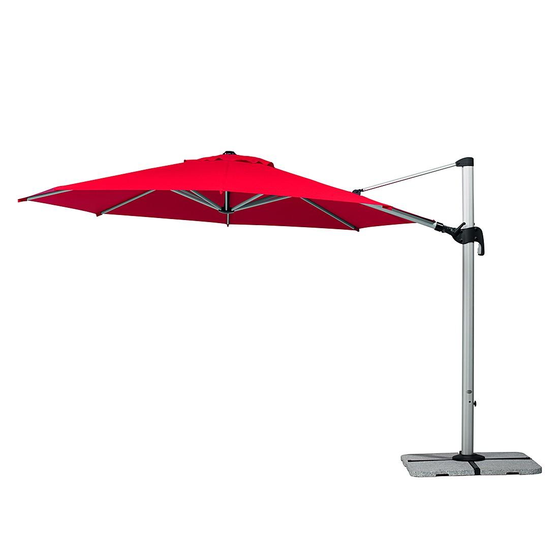 Barbados 350 Sonnenschirm - Aluminium/Polyester - Silber/Rot, Schneider Schirme
