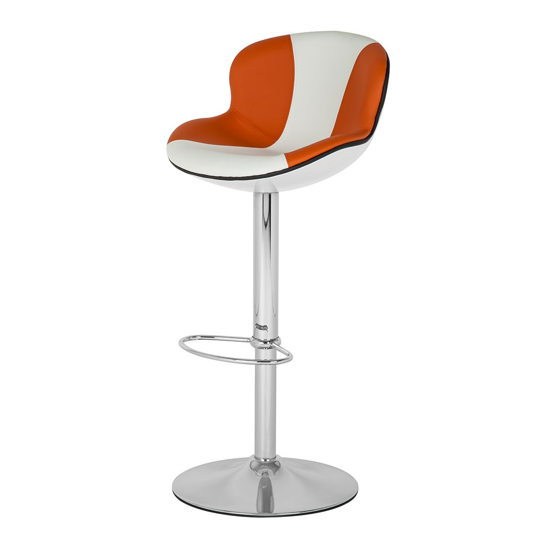 Barhocker Cancun – Kunstleder/Kunststoff – Orange/Weiß, Fredriks bestellen