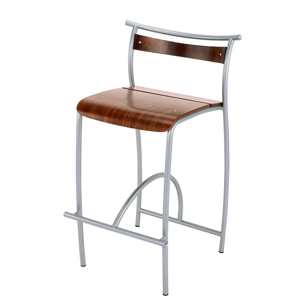 Barhocker Dally – Metall/Holz – Verchromt/Wengefarben, Homedreams günstig online kaufen