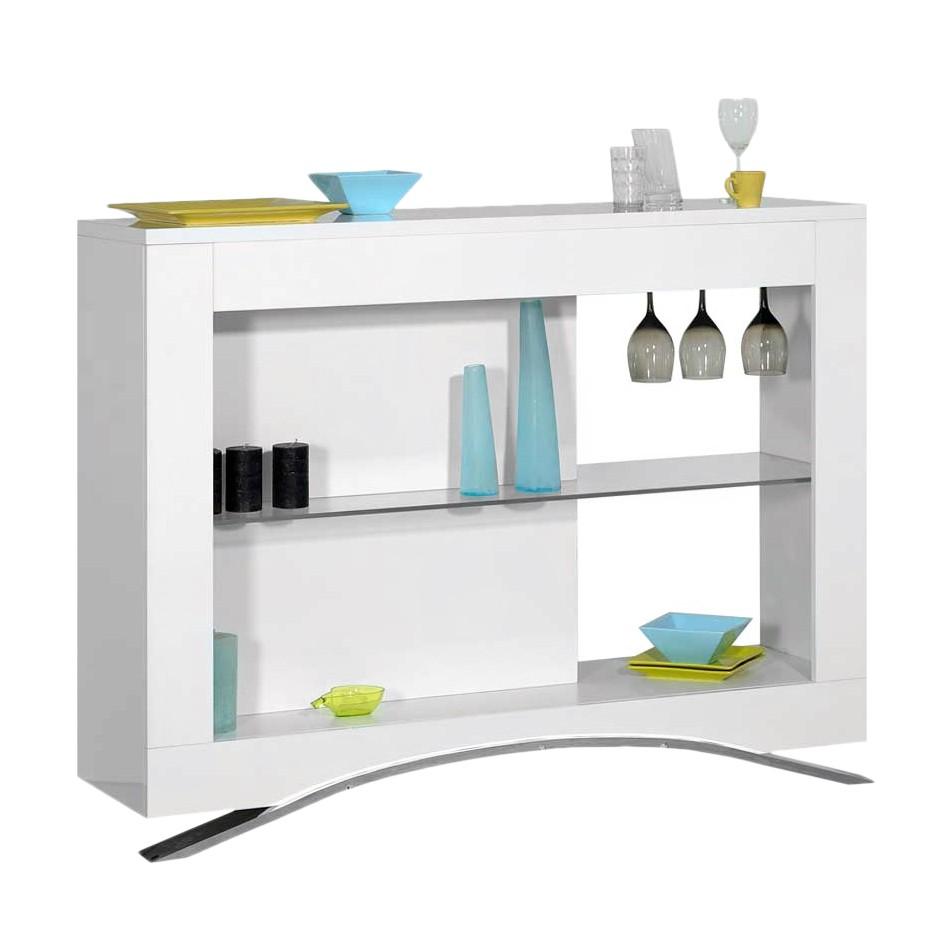 Barmöbel Renalfo – MDF/Glas – Weiß Hochglanz/Klar, Violata Furniture günstig kaufen