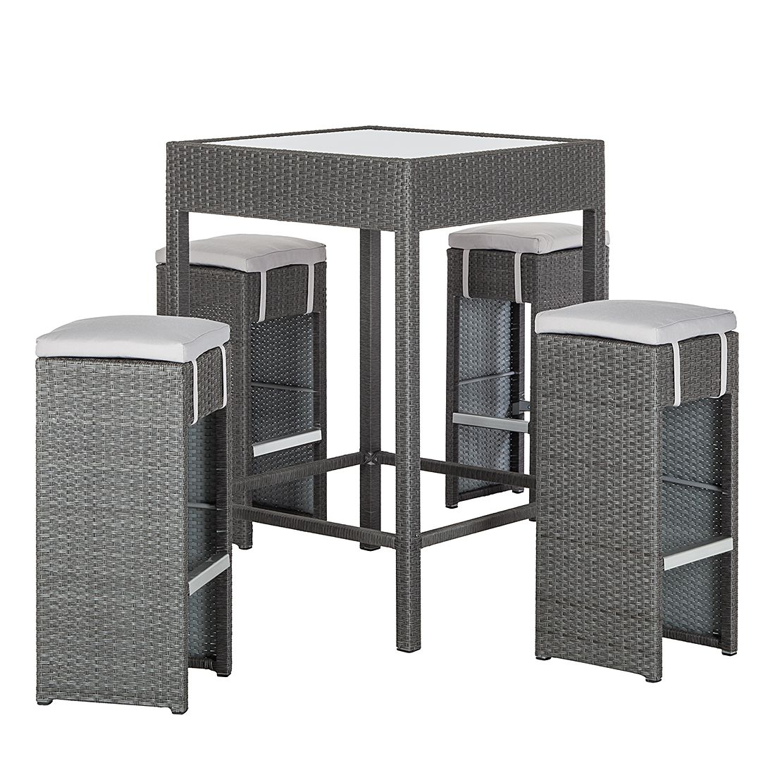 gartenbar set paradise lounge 5 teilig polyrattan grau kings garden g nstig kaufen. Black Bedroom Furniture Sets. Home Design Ideas