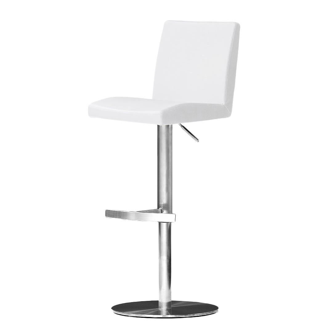 Barstuhl Fran – Weiß – Kunstleder – Runder Fuß, roomscape bestellen