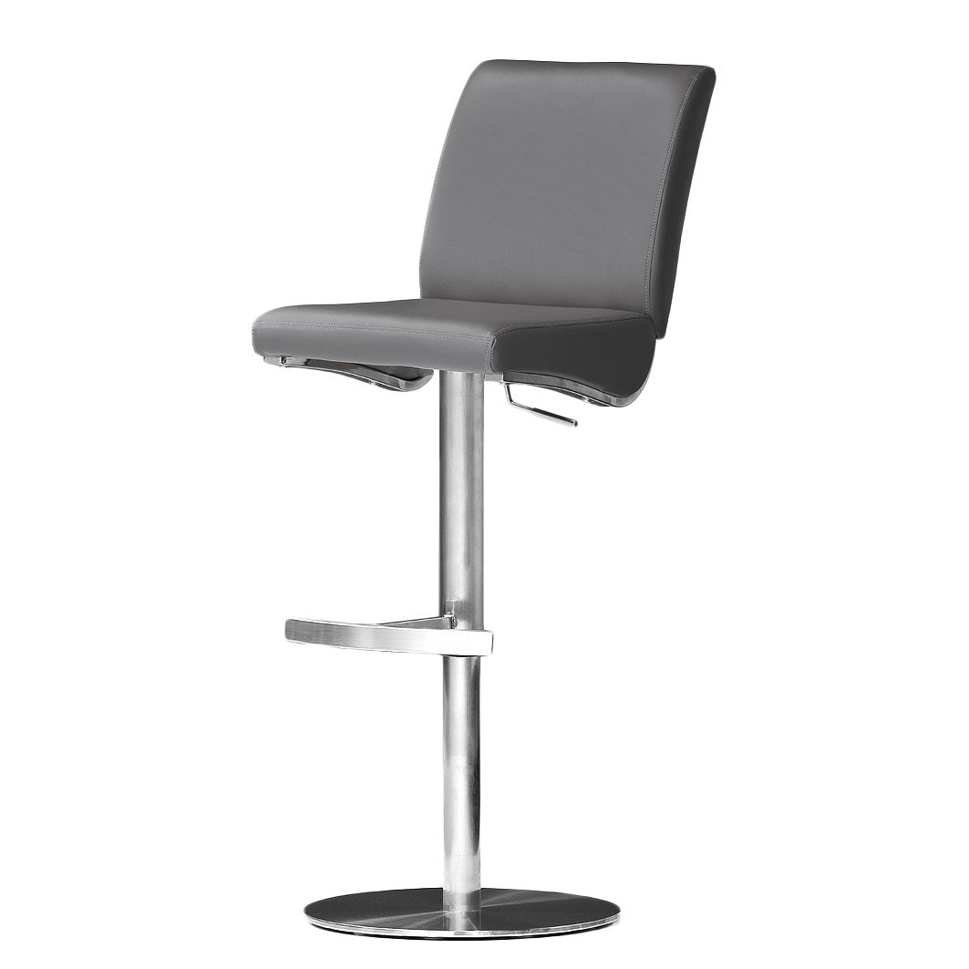 Barstuhl Hoover – Grau – Kunstleder – Runder Fuß, roomscape günstig