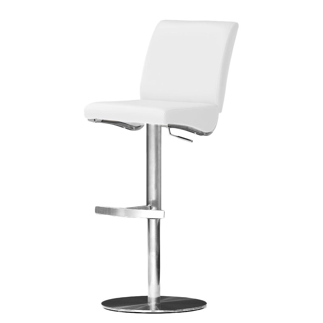 Barstuhl Hoover – Weiß – Kunstleder – Runder Fuß, roomscape günstig bestellen