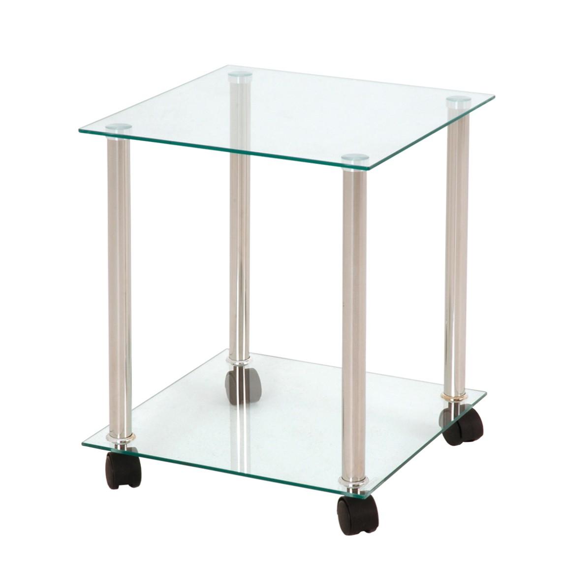 Beistelltisch Adah – Glas/Metall – Klar/Alufarbig, Tollhaus online kaufen